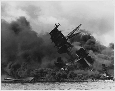 Attack on  Pearl Harbour (USS Arizona is burning)